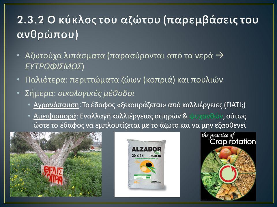 Αζωτούχα λιπάσματα ( παρασύρονται από τα νερά  ΕΥΤΡΟΦΙΣΜΟΣ ) Παλιότερα : περιττώματα ζώων ( κοπριά ) και πουλιών Σήμερα : οικολογικές μέθοδοι Αγρανάπαυση : Το έδαφος « ξεκουράζεται » από καλλιέργειες ( ΓΙΑΤΙ ;) Αμειψισπορά : Εναλλαγή καλλιέργειας σιτηρών & ψυχανθών, ούτως ώστε το έδαφος να εμπλουτίζεται με το άζωτο και να μην εξασθενεί