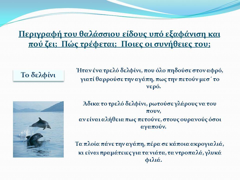 Περιγραφή του θαλάσσιου είδους υπό εξαφάνιση και πού ζει; Πώς τρέφεται; Ποιες οι συνήθειες του; Ήταν ένα τρελό δελφίνι, που όλο πηδούσε στον αφρό, γιατί θαρρούσε την αγάπη, πως την πετούν μεσ΄ το νερό.