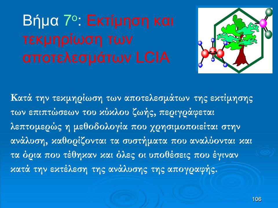 106 Βήμα 7 o : Εκτίμηση και τεκμηρίωση των αποτελεσμάτων LCIA Κατά την τεκμηρίωση των αποτελεσμάτων της εκτίμησης των επιπτώσεων του κύκλου ζωής, περιγράφεται λεπτομερώς η μεθοδολογία που χρησιμοποιείται στην ανάλυση, καθορίζονται τα συστήματα που αναλύονται και τα όρια που τέθηκαν και όλες οι υποθέσεις που έγιναν κατά την εκτέλεση της ανάλυσης της απογραφής.
