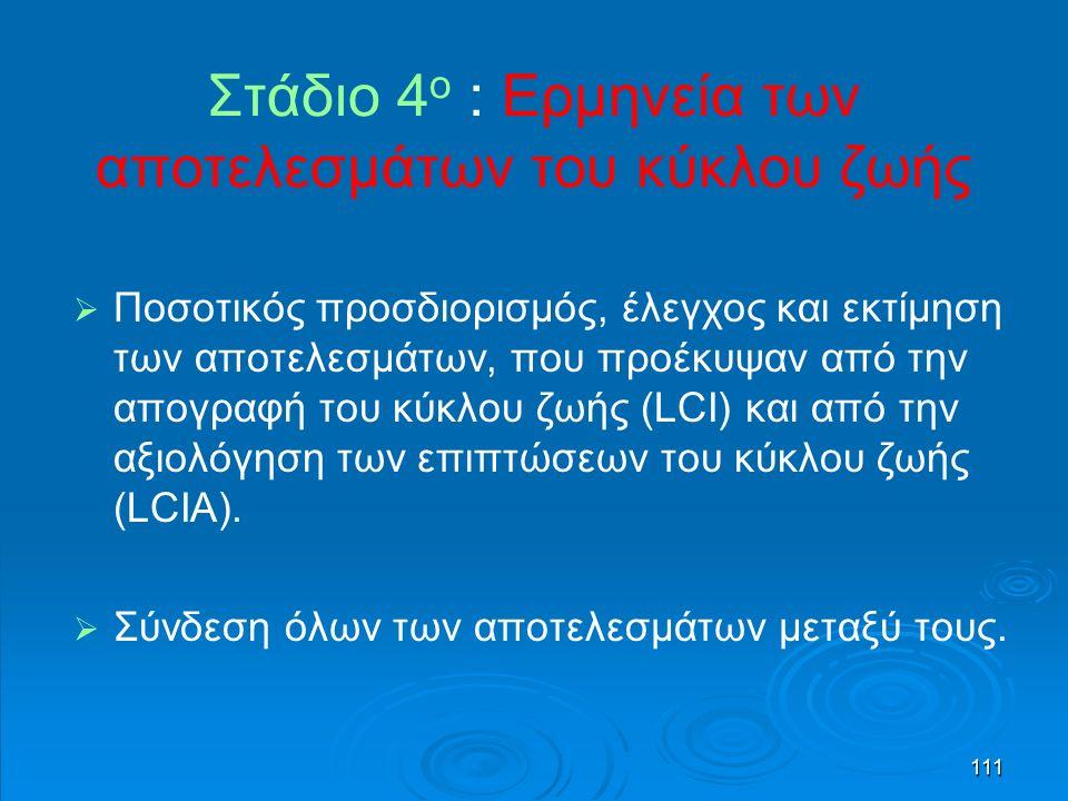 111 Στάδιο 4 ο : Ερμηνεία των αποτελεσμάτων του κύκλου ζωής   Ποσοτικός προσδιορισμός, έλεγχος και εκτίμηση των αποτελεσμάτων, που προέκυψαν από την απογραφή του κύκλου ζωής (LCI) και από την αξιολόγηση των επιπτώσεων του κύκλου ζωής (LCIA).