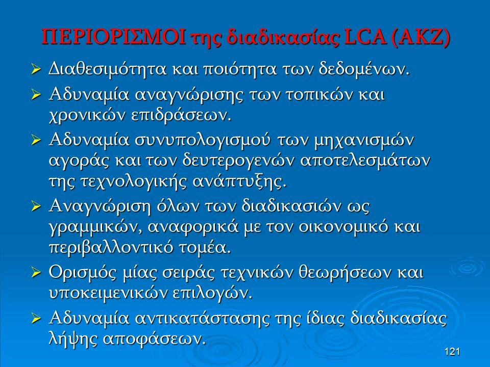 121 ΠΕΡΙΟΡΙΣΜΟΙ της διαδικασίας LCA (AKZ)  Διαθεσιμότητα και ποιότητα των δεδομένων.