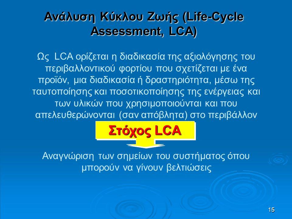 15 Ανάλυση Κύκλου Ζωής (Life-Cycle Assessment, LCA) Ως LCA ορίζεται η διαδικασία της αξιολόγησης του περιβαλλοντικού φορτίου που σχετίζεται με ένα προϊόν, μια διαδικασία ή δραστηριότητα, μέσω της ταυτοποίησης και ποσοτικοποίησης της ενέργειας και των υλικών που χρησιμοποιούνται και που απελευθερώνονται (σαν απόβλητα) στο περιβάλλον Αναγνώριση των σημείων του συστήματος όπου μπορούν να γίνουν βελτιώσεις Στόχος LCA