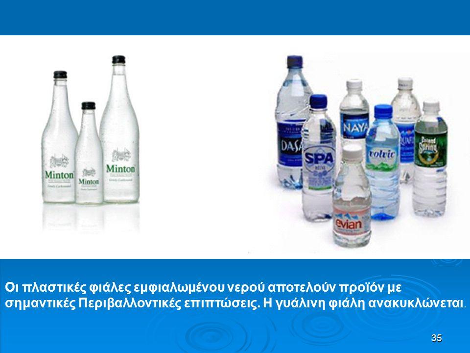 35 Οι πλαστικές φιάλες εμφιαλωμένου νερού αποτελούν προϊόν με σημαντικές Περιβαλλοντικές επιπτώσεις.