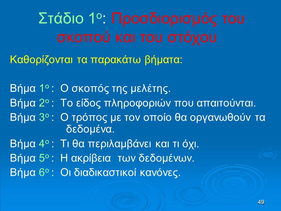 49 Στάδιο 1 ο : Προσδιορισμός του σκοπού και του στόχου Καθορίζονται τα παρακάτω βήματα: Βήμα 1 ο : Ο σκοπός της μελέτης.