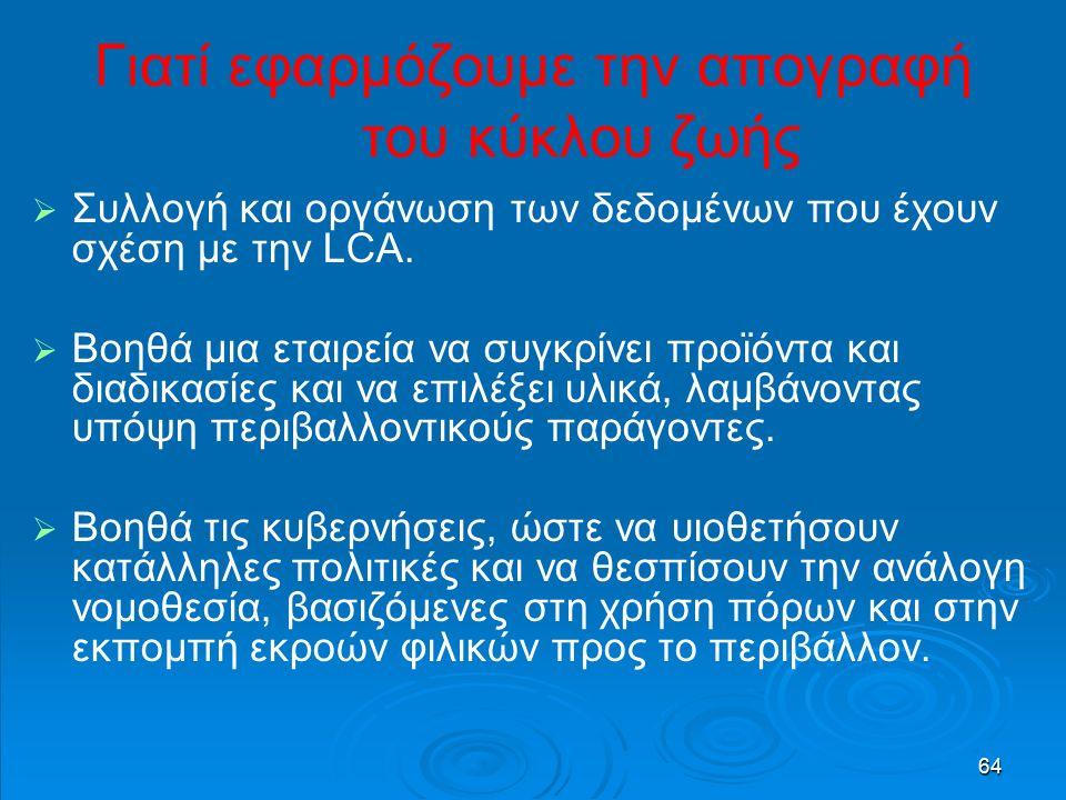 64 Γιατί εφαρμόζουμε την απογραφή του κύκλου ζωής   Συλλογή και οργάνωση των δεδομένων που έχουν σχέση με την LCA.