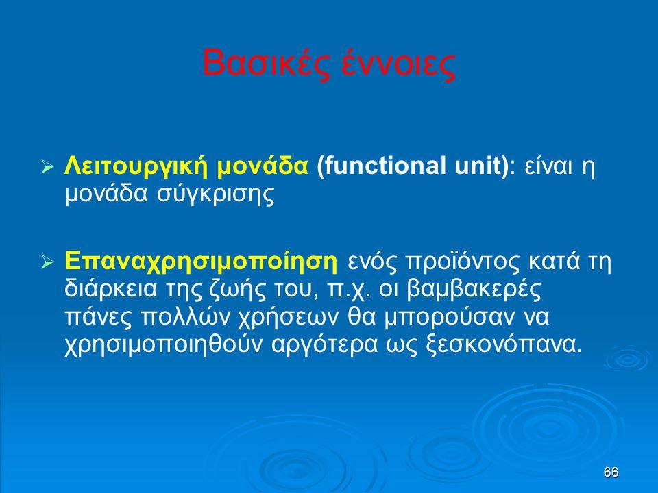 66 Βασικές έννοιες   Λειτουργική μονάδα (functional unit): είναι η μονάδα σύγκρισης   Επαναχρησιμοποίηση ενός προϊόντος κατά τη διάρκεια της ζωής του, π.χ.