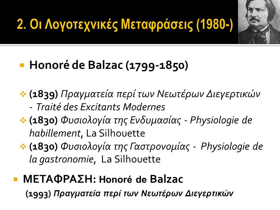  Honoré de Balzac (1799-1850)  (1839) Πραγματεία περί των Νεωτέρων Διεγερτικών - Traité des Excitants Modernes  (1830) Φυσιολογία της Ενδυμασίας - Physiologie de habillement, La Silhouette  (1830) Φυσιολογία της Γαστρονομίας - Physiologie de la gastronomie, La Silhouette  ΜΕΤΑΦΡΑΣΗ: Honoré de Balzac (1993) Πραγματεία περί των Νεωτέρων Διεγερτικών