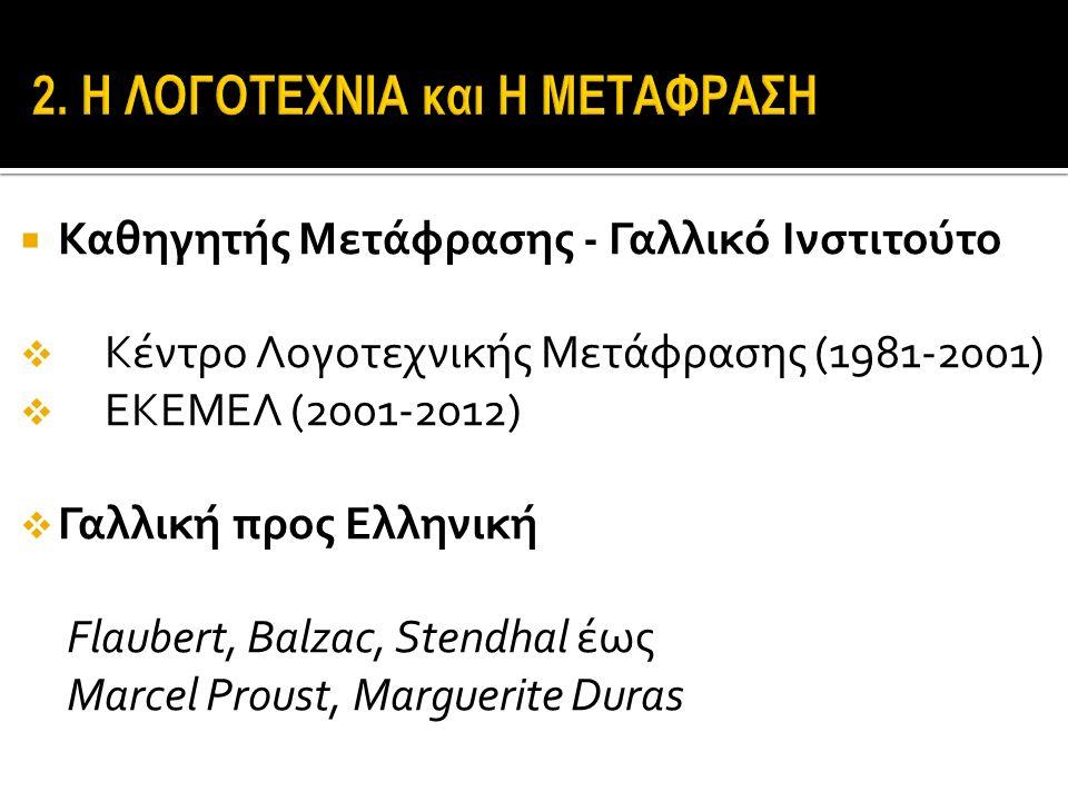  Καθηγητής Μετάφρασης - Γαλλικό Ινστιτούτο  Κέντρο Λογοτεχνικής Μετάφρασης (1981-2001)  ΕΚΕΜΕΛ (2001-2012)  Γαλλική προς Ελληνική Flaubert, Balzac, Stendhal έως Marcel Proust, Marguerite Duras