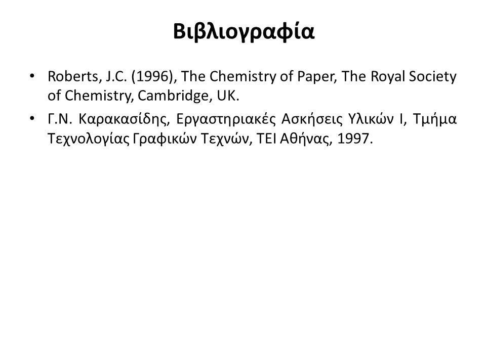 Βιβλιογραφία Roberts, J.C. (1996), The Chemistry of Paper, The Royal Society of Chemistry, Cambridge, UK. Γ.Ν. Καρακασίδης, Εργαστηριακές Ασκήσεις Υλι