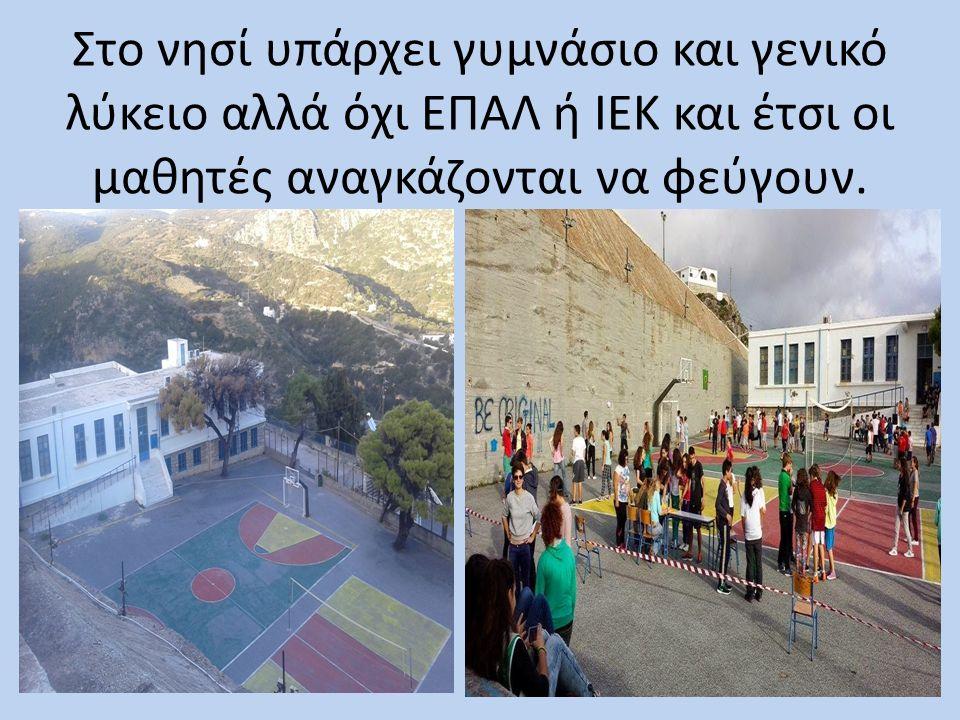 Στο νησί υπάρχει γυμνάσιο και γενικό λύκειο αλλά όχι ΕΠΑΛ ή ΙΕΚ και έτσι οι μαθητές αναγκάζονται να φεύγουν.
