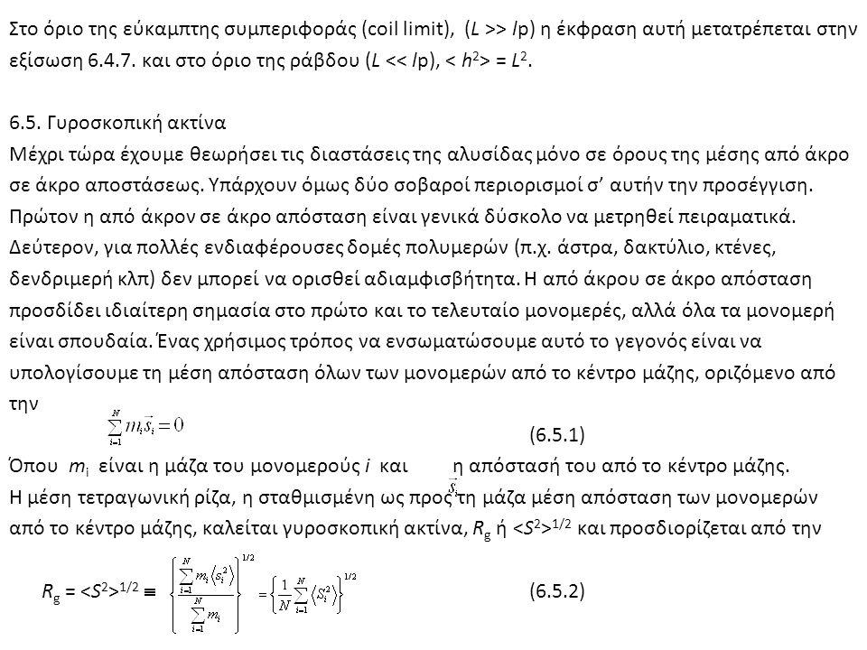 Στο όριο της εύκαμπτης συμπεριφοράς (coil limit), (L >> lp) η έκφραση αυτή μετατρέπεται στην εξίσωση 6.4.7. και στο όριο της ράβδου (L = L 2. 6.5. Γυρ