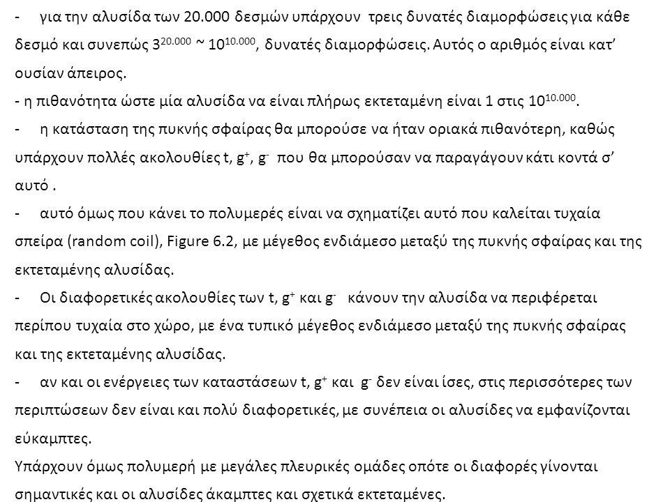 -για την αλυσίδα των 20.000 δεσμών υπάρχουν τρεις δυνατές διαμορφώσεις για κάθε δεσμό και συνεπώς 3 20.000 ~ 10 10.000, δυνατές διαμορφώσεις.
