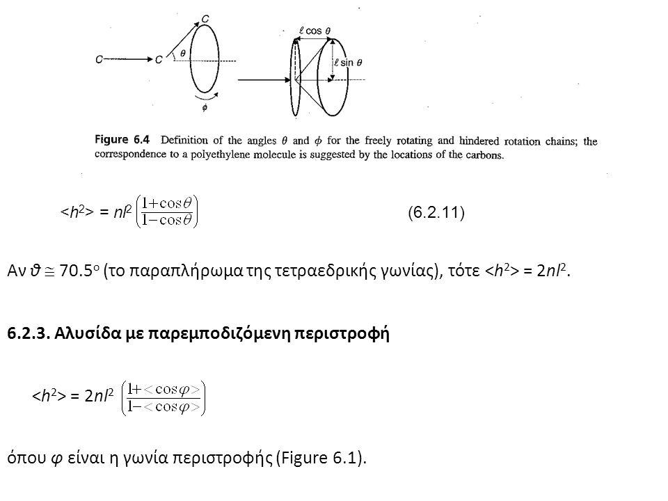 = nl 2 (6.2.11) Αν θ  70.5 ο (το παραπλήρωμα της τετραεδρικής γωνίας), τότε = 2nl 2. 6.2.3. Αλυσίδα με παρεμποδιζόμενη περιστροφή = 2nl 2 όπου φ είνα