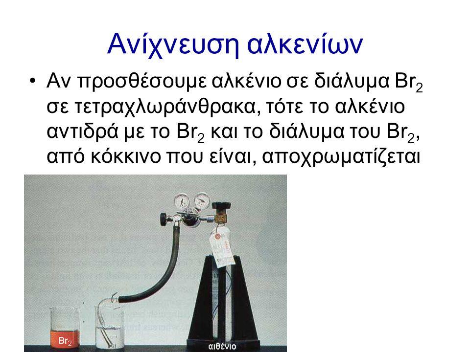 Ανίχνευση αλκενίων Αν προσθέσουμε αλκένιο σε διάλυμα Br 2 σε τετραχλωράνθρακα, τότε το αλκένιο αντιδρά με το Br 2 και το διάλυμα του Br 2, από κόκκινο που είναι, αποχρωματίζεται