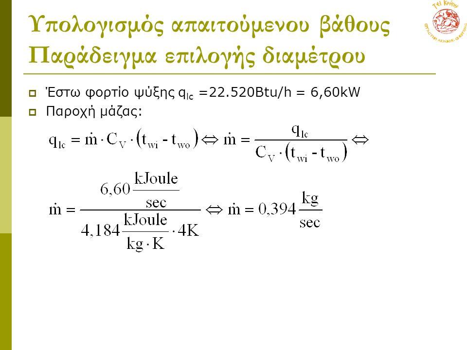 Υπολογισμός απαιτούμενου βάθους Παράδειγμα επιλογής διαμέτρου  Έστω φορτίο ψύξης q lc =22.520Btu/h = 6,60kW  Παροχή μάζας: