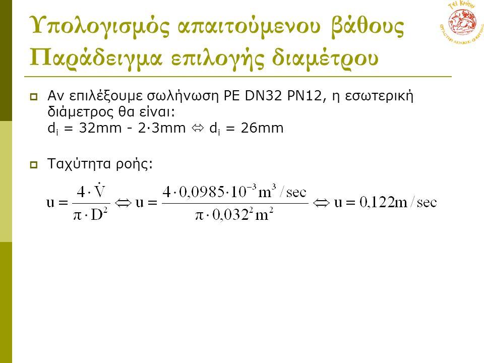 Υπολογισμός απαιτούμενου βάθους Παράδειγμα επιλογής διαμέτρου  Aν επιλέξουμε σωλήνωση PE DN32 PN12, η εσωτερική διάμετρος θα είναι: d i = 32mm - 2∙3mm  d i = 26mm  Ταχύτητα ροής: