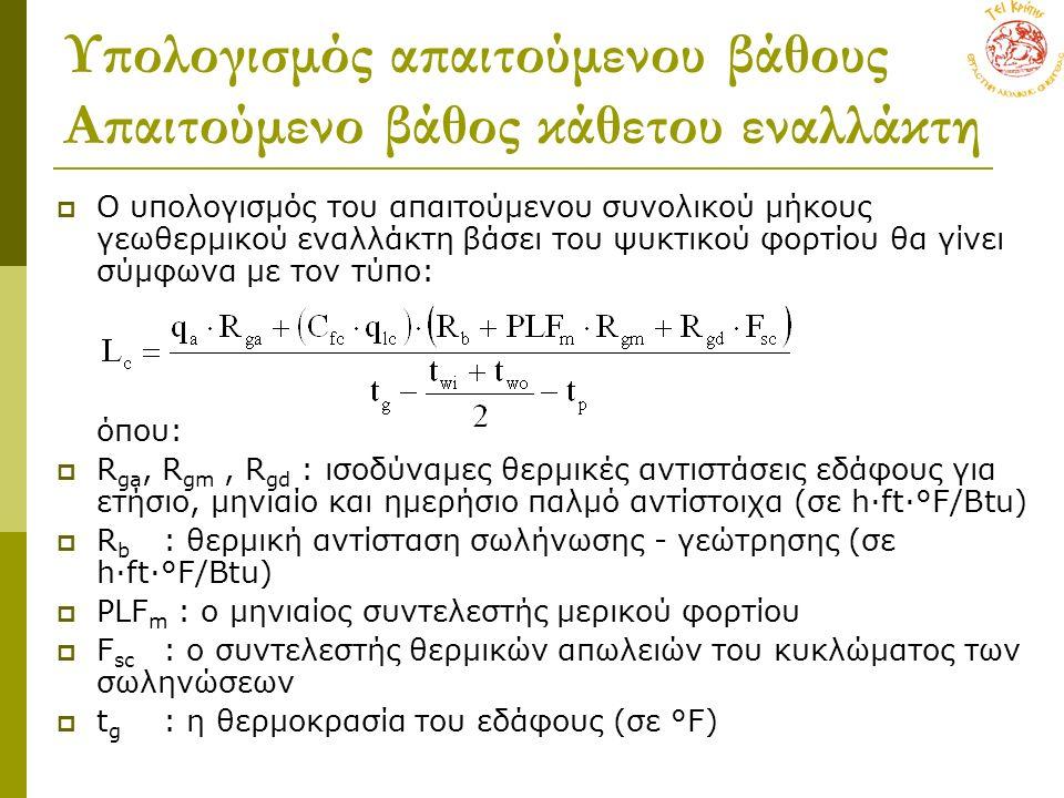 Υπολογισμός απαιτούμενου βάθους Απαιτούμενο βάθος κάθετου εναλλάκτη  Ο υπολογισμός του απαιτούμενου συνολικού μήκους γεωθερμικού εναλλάκτη βάσει του ψυκτικού φορτίου θα γίνει σύμφωνα με τον τύπο: όπου:  R ga, R gm, R gd : ισοδύναμες θερμικές αντιστάσεις εδάφους για ετήσιο, μηνιαίο και ημερήσιο παλμό αντίστοιχα (σε h·ft·°F/Btu)  R b : θερμική αντίσταση σωλήνωσης - γεώτρησης (σε h·ft·°F/Btu)  PLF m : ο μηνιαίος συντελεστής μερικού φορτίου  F sc : ο συντελεστής θερμικών απωλειών του κυκλώματος των σωληνώσεων  t g : η θερμοκρασία του εδάφους (σε °F)