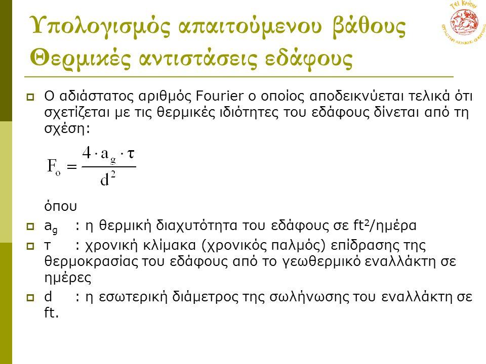 Υπολογισμός απαιτούμενου βάθους Θερμικές αντιστάσεις εδάφους  Ο αδιάστατος αριθμός Fourier ο οποίος αποδεικνύεται τελικά ότι σχετίζεται με τις θερμικ