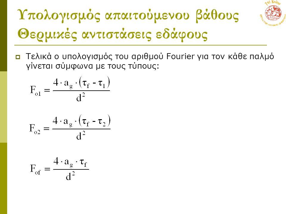 Υπολογισμός απαιτούμενου βάθους Θερμικές αντιστάσεις εδάφους  Τελικά ο υπολογισμός του αριθμού Fourier για τον κάθε παλμό γίνεται σύμφωνα με τους τύπους: