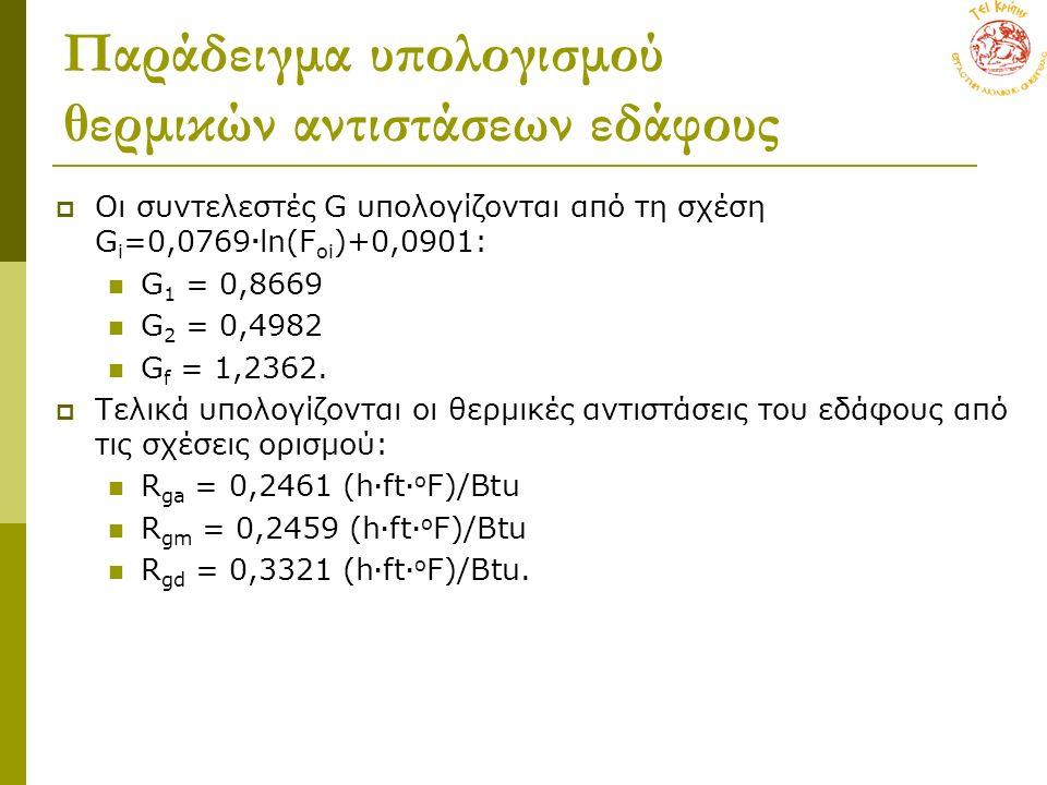 Παράδειγμα υπολογισμού θερμικών αντιστάσεων εδάφους  Οι συντελεστές G υπολογίζονται από τη σχέση G i =0,0769  ln(F oi )+0,0901: G 1 = 0,8669 G 2 = 0