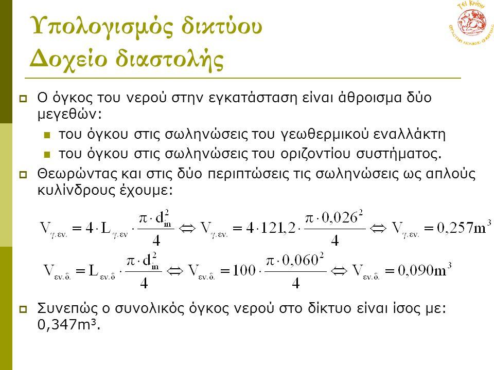 Υπολογισμός δικτύου Δοχείο διαστολής  Ο όγκος του νερού στην εγκατάσταση είναι άθροισμα δύο μεγεθών: του όγκου στις σωληνώσεις του γεωθερμικού εναλλάκτη του όγκου στις σωληνώσεις του οριζοντίου συστήματος.