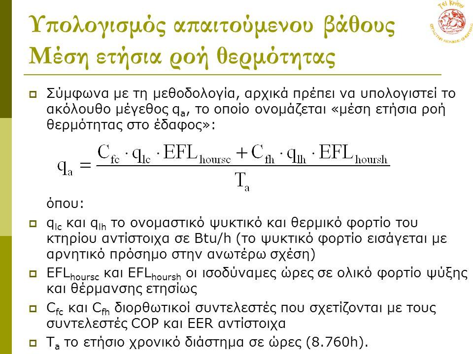 Υπολογισμός απαιτούμενου βάθους Μέση ετήσια ροή θερμότητας  Σύμφωνα με τη μεθοδολογία, αρχικά πρέπει να υπολογιστεί το ακόλουθο μέγεθος q a, το οποίο ονομάζεται «μέση ετήσια ροή θερμότητας στο έδαφος»: όπου:  q lc και q lh το ονομαστικό ψυκτικό και θερμικό φορτίο του κτηρίου αντίστοιχα σε Btu/h (το ψυκτικό φορτίο εισάγεται με αρνητικό πρόσημο στην ανωτέρω σχέση)  EFL hoursc και EFL hoursh οι ισοδύναμες ώρες σε ολικό φορτίο ψύξης και θέρμανσης ετησίως  C fc και C fh διορθωτικοί συντελεστές που σχετίζονται με τους συντελεστές COP και ΕΕR αντίστοιχα  Τ a το ετήσιο χρονικό διάστημα σε ώρες (8.760h).