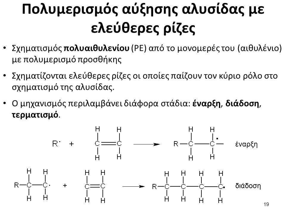 Πολυμερισμός αύξησης αλυσίδας με ελεύθερες ρίζες Σχηματισμός πολυαιθυλενίου (PE) από το μονομερές του (αιθυλένιο) με πολυμερισμό προσθήκης Σχηματίζονται ελεύθερες ρίζες οι οποίες παίζουν τον κύριο ρόλο στο σχηματισμό της αλυσίδας.