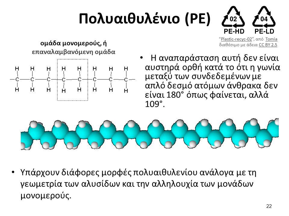 Πoλυαιθυλένιο (PE) Η αναπαράσταση αυτή δεν είναι αυστηρά ορθή κατά το ότι η γωνία μεταξύ των συνδεδεμένων με απλό δεσμό ατόμων άνθρακα δεν είναι 180° όπως φαίνεται, αλλά 109°.