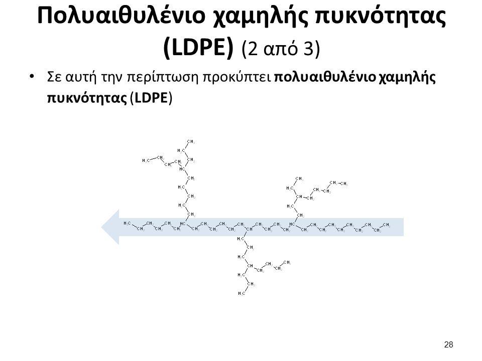 Πoλυαιθυλένιο χαμηλής πυκνότητας (LDPE) (2 από 3) Σε αυτή την περίπτωση προκύπτει πολυαιθυλένιο χαμηλής πυκνότητας (LDPE) 28