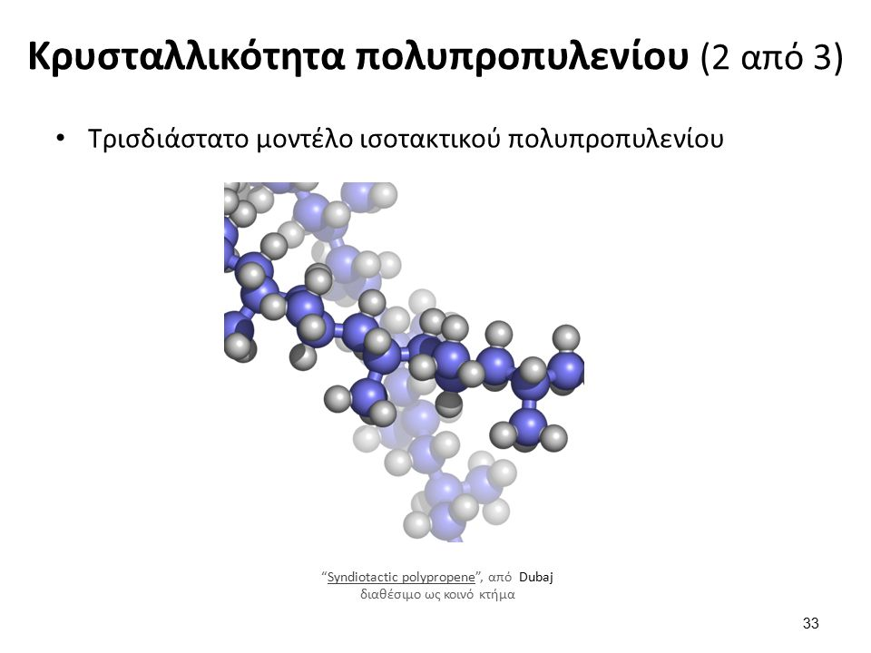 Κρυσταλλικότητα πολυπροπυλενίου (2 από 3) 33 Τρισδιάστατο μοντέλο ισοτακτικού πολυπροπυλενίου Syndiotactic polypropene , από Dubaj διαθέσιμο ως κοινό κτήμαSyndiotactic polypropene
