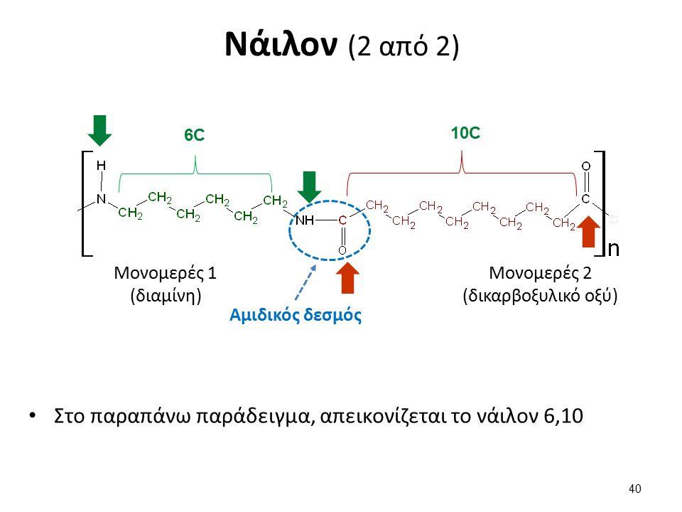 Νάιλον (2 από 2) Στο παραπάνω παράδειγμα, απεικονίζεται το νάιλον 6,10 40 Μονομερές 1 (διαμίνη) Μονομερές 2 (δικαρβοξυλικό οξύ) Αμιδικός δεσμός 6C6C 10C