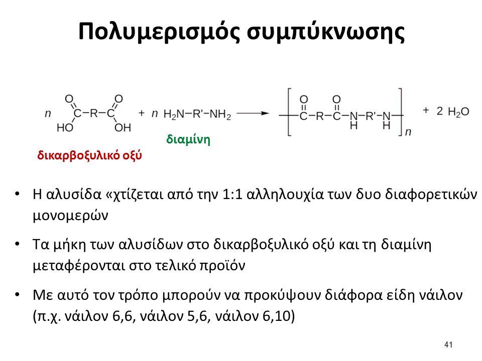 Πολυμερισμός συμπύκνωσης Η αλυσίδα «χτίζεται από την 1:1 αλληλουχία των δυο διαφορετικών μονομερών Τα μήκη των αλυσίδων στο δικαρβοξυλικό οξύ και τη διαμίνη μεταφέρονται στο τελικό προϊόν Με αυτό τον τρόπο μπορούν να προκύψουν διάφορα είδη νάιλον (π.χ.
