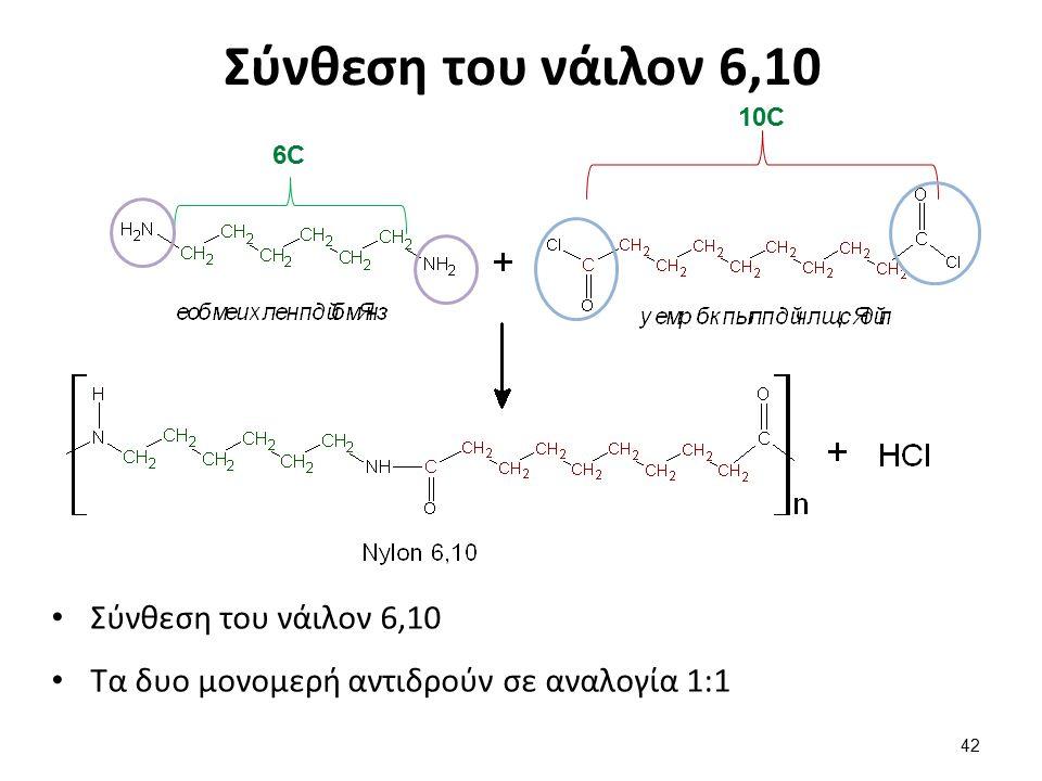 Σύνθεση του νάιλον 6,10 Τα δυο μονομερή αντιδρούν σε αναλογία 1:1 42 6C6C 10C