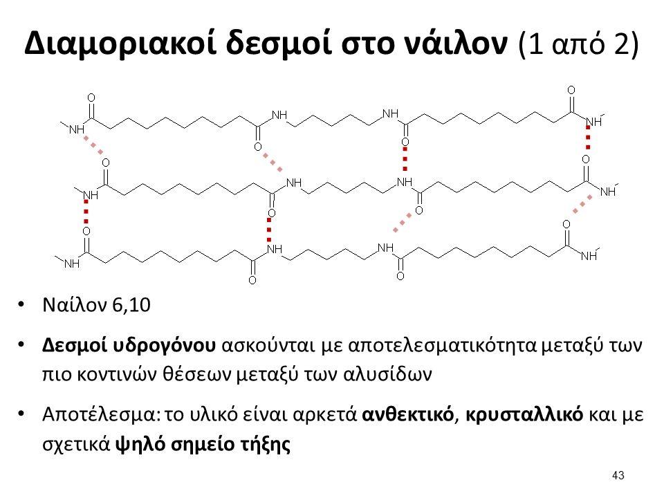 Διαμοριακοί δεσμοί στο νάιλον (1 από 2) Ναίλον 6,10 Δεσμοί υδρογόνου ασκούνται με αποτελεσματικότητα μεταξύ των πιο κοντινών θέσεων μεταξύ των αλυσίδων Αποτέλεσμα: το υλικό είναι αρκετά ανθεκτικό, κρυσταλλικό και με σχετικά ψηλό σημείο τήξης 43 … … … … … … … …