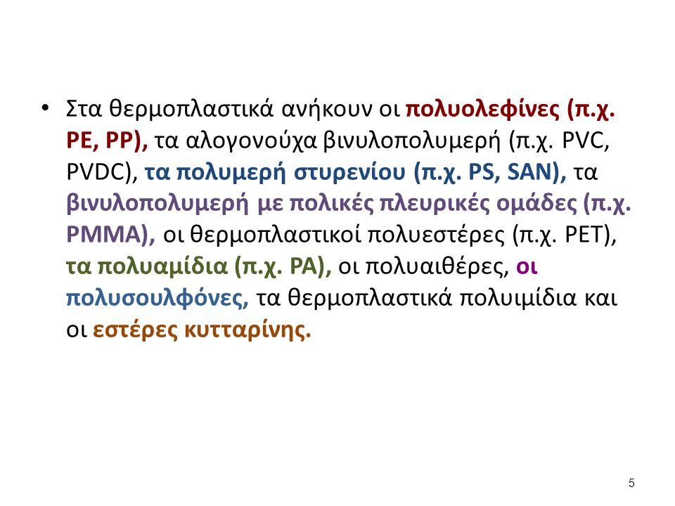 Στα θερμοπλαστικά ανήκουν οι πολυολεφίνες (π.χ. PE, PP), τα αλογονούχα βινυλοπολυμερή (π.χ.
