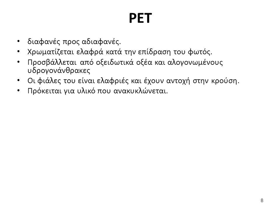 PET διαφανές προς αδιαφανές. Χρωματίζεται ελαφρά κατά την επίδραση του φωτός.