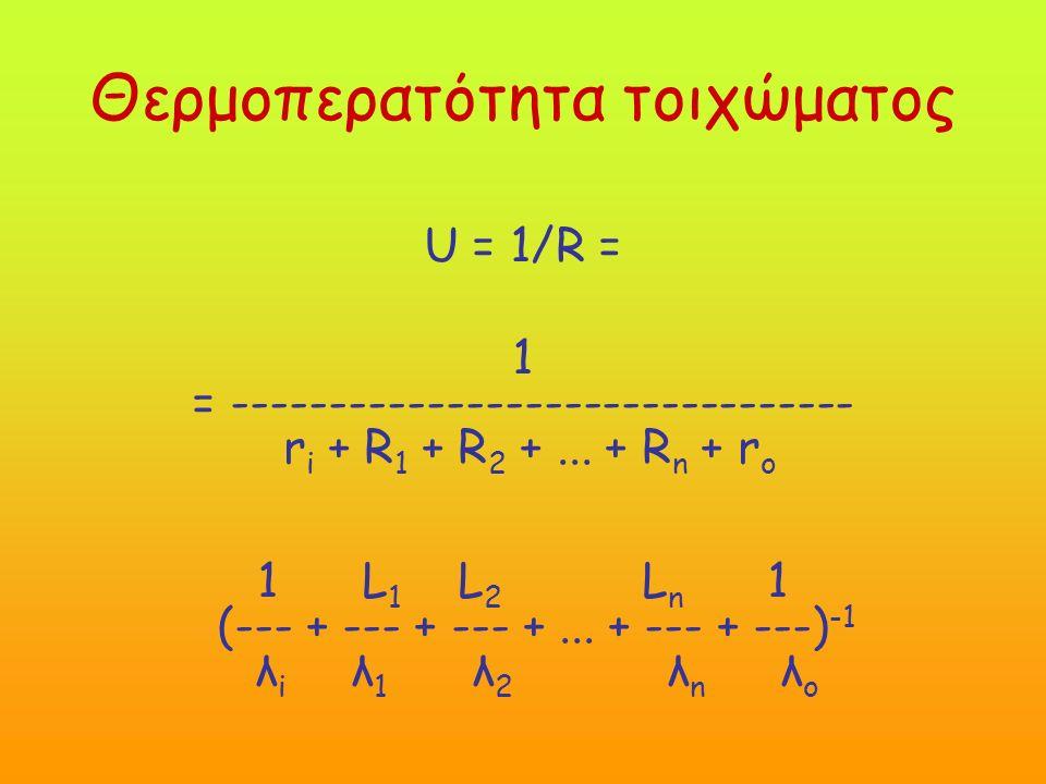 Θερμοπερατότητα τοιχώματος U = 1/R = 1 = -------------------------------- r i + R 1 + R 2 +...