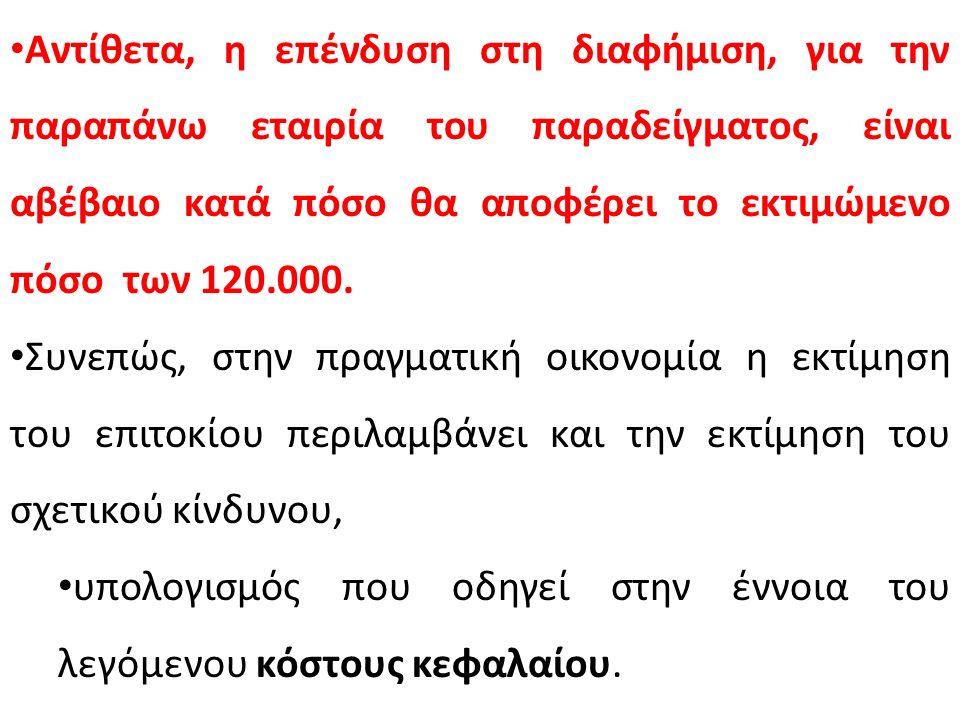 Αντίθετα, η επένδυση στη διαφήμιση, για την παραπάνω εταιρία του παραδείγματος, είναι αβέβαιο κατά πόσο θα αποφέρει το εκτιμώμενο πόσο των 120.000. Συ
