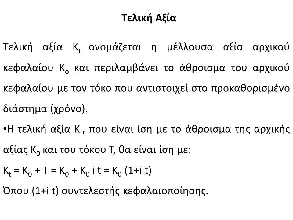 Τελική Αξία Τελική αξία Κ t ονομάζεται η μέλλουσα αξία αρχικού κεφαλαίου Κ o και περιλαμβάνει το άθροισμα του αρχικού κεφαλαίου με τον τόκο που αντιστοιχεί στο προκαθορισμένο διάστημα (χρόνο).