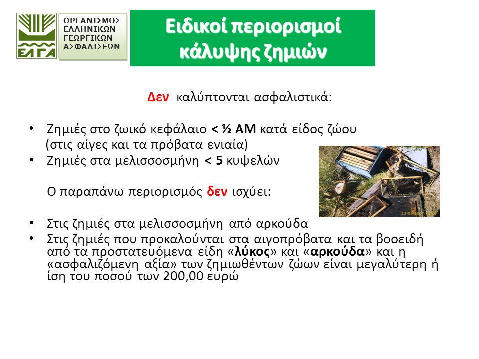 ΟΡΓΑΝΙΣΜΟΣ ΕΛΛΗΝΙΚΩΝ ΓΕΩΡΓΙΚΩΝ ΑΣΦΑΛΙΣΕΩΝ «Εξαιρέσεις» ΔΕΝ ΚΑΛΥΠΤΟΝΤΑΙ  Οι κτηνοτροφικές εκμεταλλεύσεις των οποίων ο αριθμός των ασφαλιστικών μονάδων κατά είδος είναι μικρότερος της μιας (1) και προκειμένου για μελισσοσμήνη μικρότερος των δέκα (10) «σμηνών» (εκτός των ζημιών από αρκούδα).