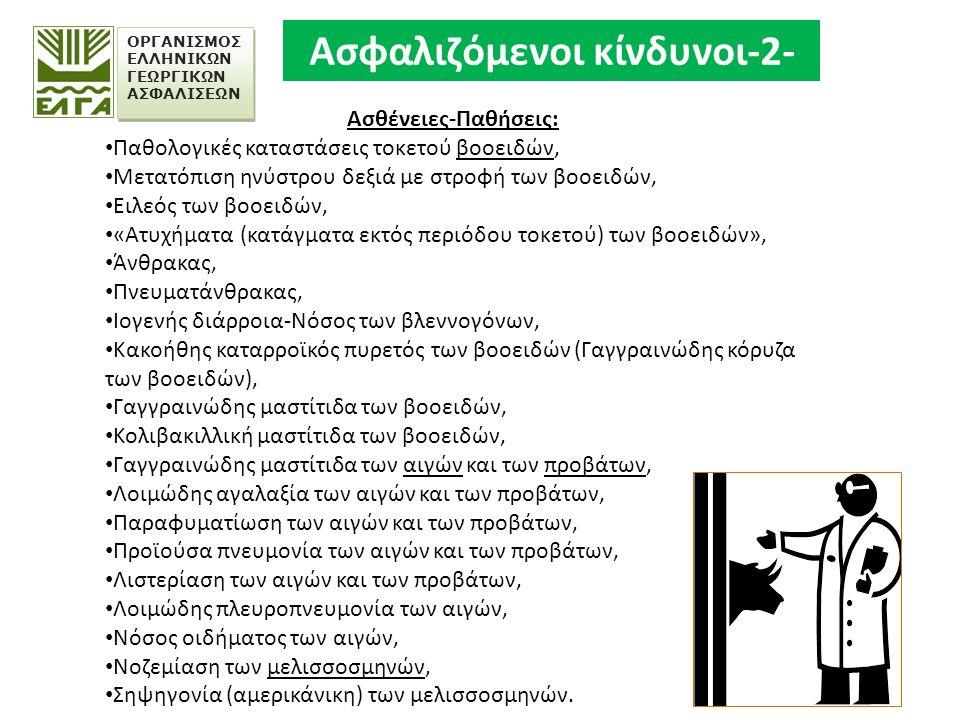 ΟΡΓΑΝΙΣΜΟΣ ΕΛΛΗΝΙΚΩΝ ΓΕΩΡΓΙΚΩΝ ΑΣΦΑΛΙΣΕΩΝ Ασθένειες-Παθήσεις: Παθολογικές καταστάσεις τοκετού βοοειδών, Μετατόπιση ηνύστρου δεξιά με στροφή των βοοειδών, Ειλεός των βοοειδών, «Ατυχήματα (κατάγματα εκτός περιόδου τοκετού) των βοοειδών», Άνθρακας, Πνευματάνθρακας, Ιογενής διάρροια-Νόσος των βλεννογόνων, Κακοήθης καταρροϊκός πυρετός των βοοειδών (Γαγγραινώδης κόρυζα των βοοειδών), Γαγγραινώδης μαστίτιδα των βοοειδών, Κολιβακιλλική μαστίτιδα των βοοειδών, Γαγγραινώδης μαστίτιδα των αιγών και των προβάτων, Λοιμώδης αγαλαξία των αιγών και των προβάτων, Παραφυματίωση των αιγών και των προβάτων, Προϊούσα πνευμονία των αιγών και των προβάτων, Λιστερίαση των αιγών και των προβάτων, Λοιμώδης πλευροπνευμονία των αιγών, Νόσος οιδήματος των αιγών, Νοζεμίαση των μελισσοσμηνών, Σηψηγονία (αμερικάνικη) των μελισσοσμηνών.