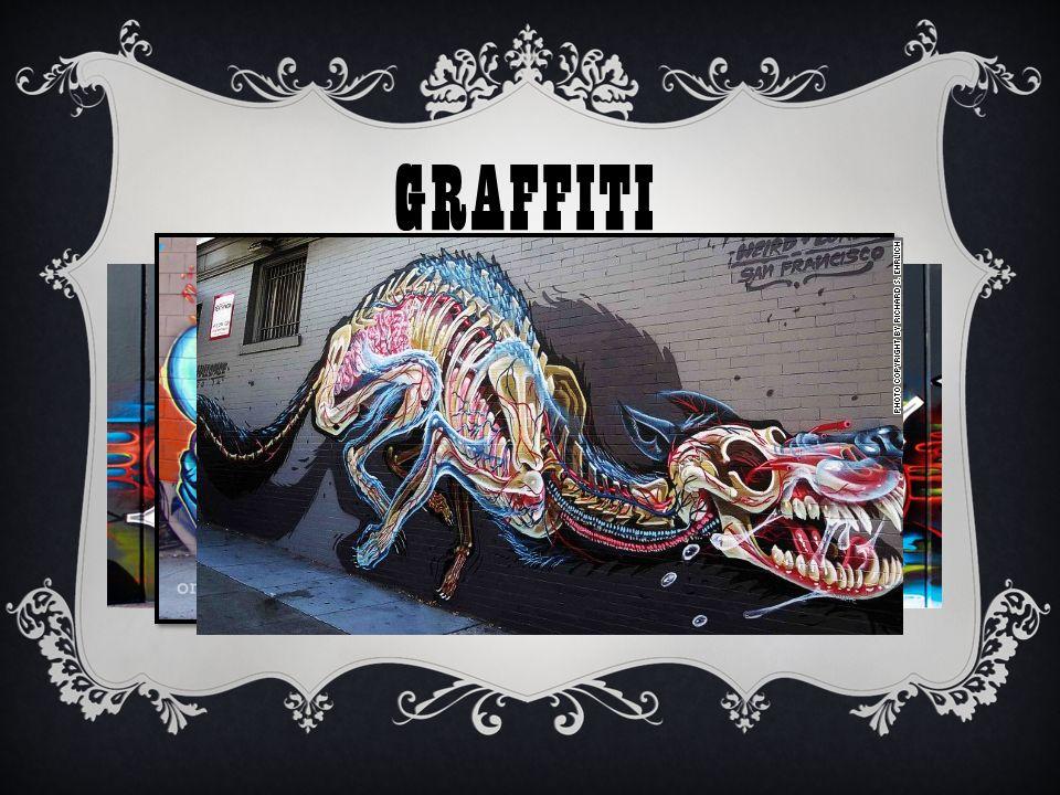 GRAFFITI Γκράφιτι είναι η αναγραφή κειμένου όπως συνθημάτων ή η ζωγραφική σε επιφάνειες που συνήθως βρίσκονται σε δημόσιους χώρους ( για παράδειγμα σε τοίχους ).