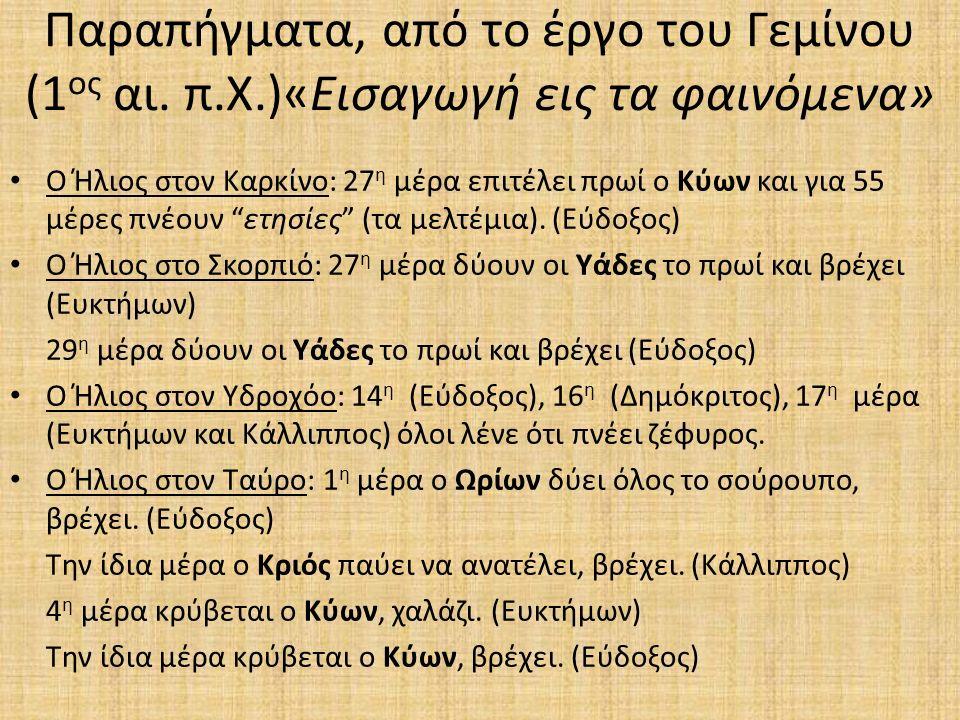 Παραπήγματα, από το έργο του Γεμίνου (1 ος αι.