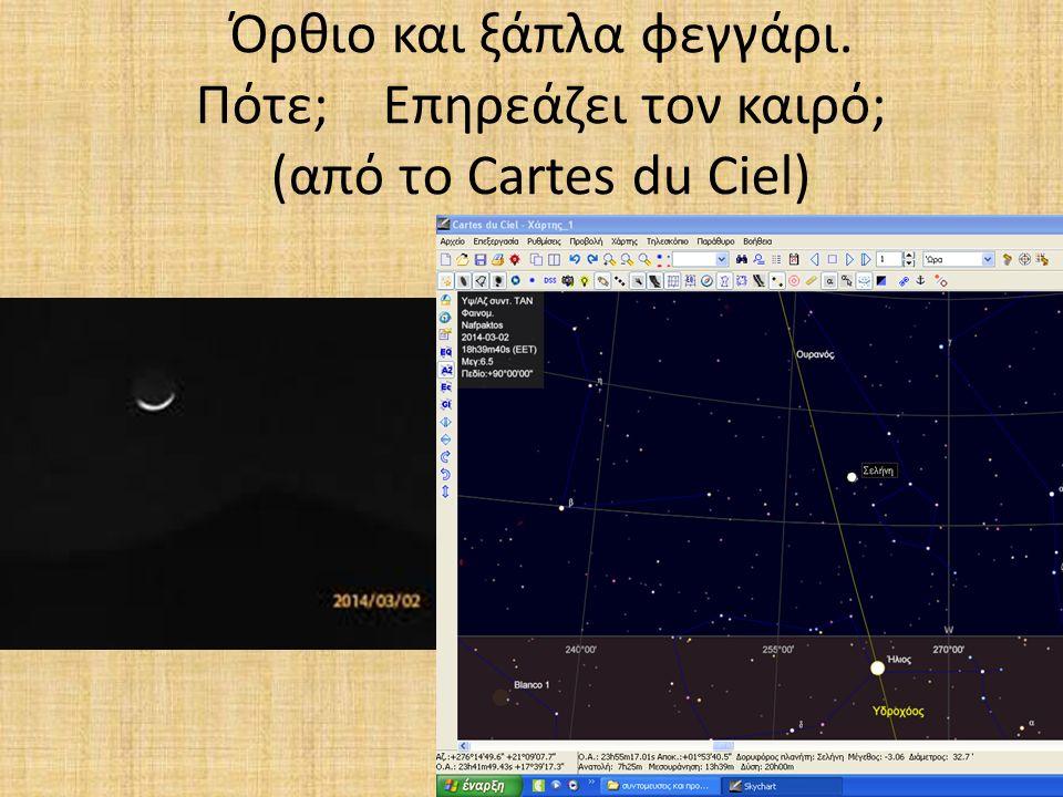 Όρθιο και ξάπλα φεγγάρι. Πότε; Επηρεάζει τον καιρό; (από το Cartes du Ciel)