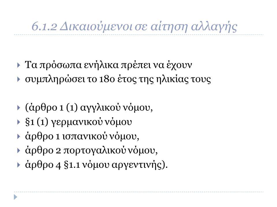 6.1.2 Δικαιούμενοι σε αίτηση αλλαγής  Τα πρόσωπα ενήλικα πρέπει να έχουν  συμπληρώσει το 18o έτος της ηλικίας τους  (άρθρο 1 (1) αγγλικού νόμου,  §1 (1) γερμανικού νόμου  άρθρο 1 ισπανικού νόμου,  άρθρο 2 πορτογαλικού νόμου,  άρθρο 4 §1.1 νόμου αργεντινής).