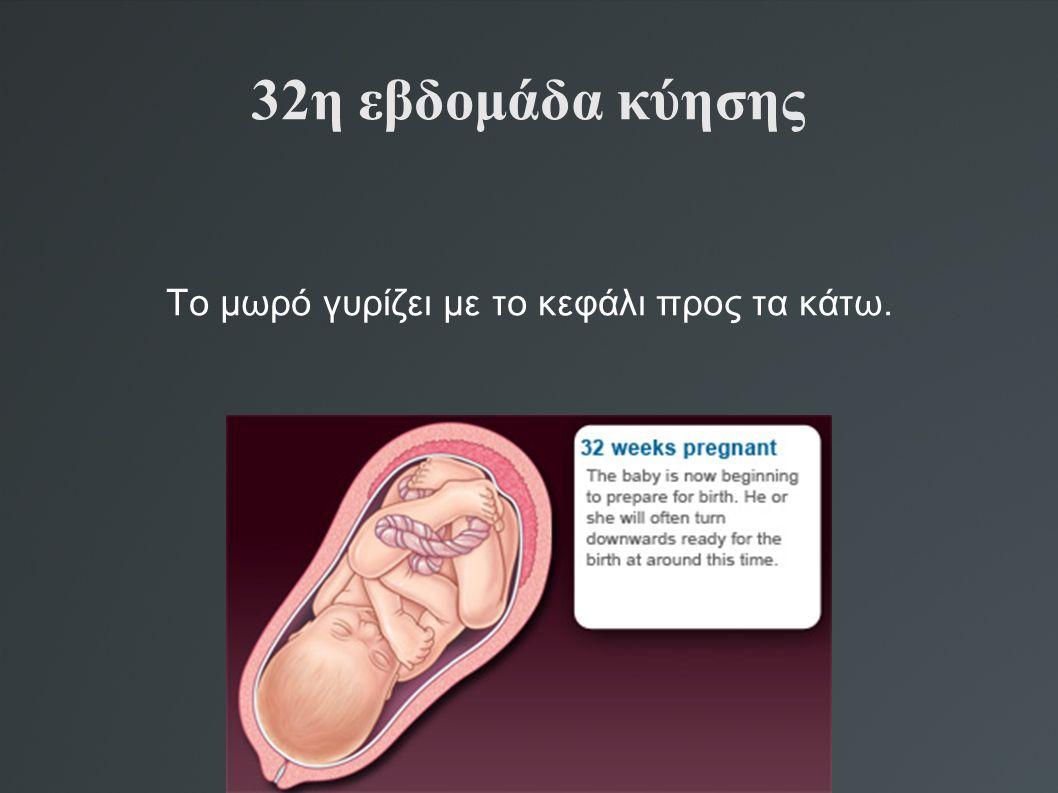 32η εβδομάδα κύησης Το μωρό γυρίζει με το κεφάλι προς τα κάτω.