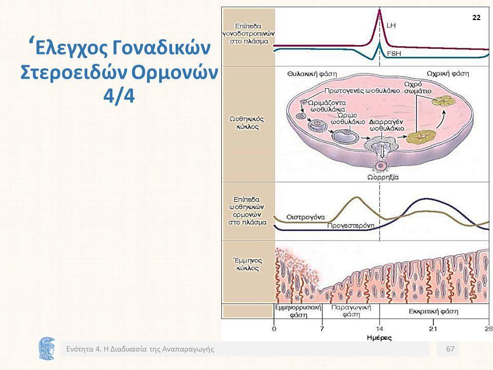 ' Ελεγχος Γοναδικών Στεροειδών Ορμονών 4/4 Ενότητα 4. Η Διαδικασία της Αναπαραγωγής67 22