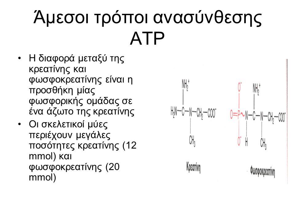Άμεσοι τρόποι ανασύνθεσης ΑΤΡ Η διαφορά μεταξύ της κρεατίνης και φωσφοκρεατίνης είναι η προσθήκη μίας φωσφορικής ομάδας σε ένα άζωτο της κρεατίνης Οι σκελετικοί μύες περιέχουν μεγάλες ποσότητες κρεατίνης (12 mmol) και φωσφοκρεατίνης (20 mmol)