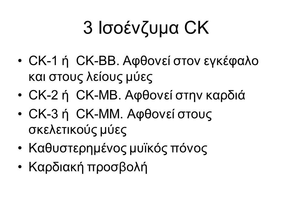 3 Ισοένζυμα CK CK-1 ή CK-BB. Αφθονεί στον εγκέφαλο και στους λείους μύες CK-2 ή CK-ΜB.