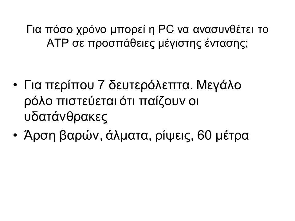 Για πόσο χρόνο μπορεί η PC να ανασυνθέτει το ΑΤΡ σε προσπάθειες μέγιστης έντασης; Για περίπου 7 δευτερόλεπτα.
